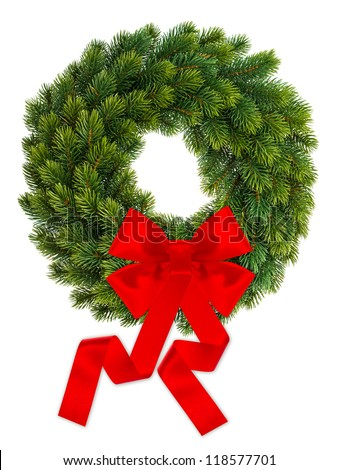traditional christmas decoration evergreen wreath with red ribbon isolated on white background - stock photo