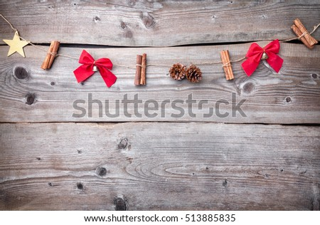 Traditional Christmas decoration on wooden background with copy space