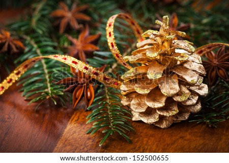 Traditional Christmas decoration on wooden table - stock photo
