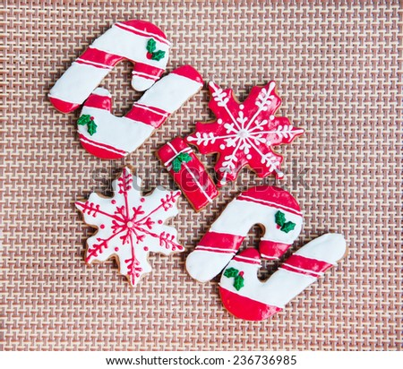 Traditional Christmas gingerbread cookies, - stock photo