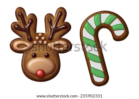 traditional Christmas gingerbread cookies illustration, isolated objects, deer, candy cane - stock photo