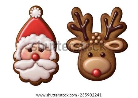 traditional Christmas gingerbread cookies illustration, isolated objects, Santa Claus, deer - stock photo