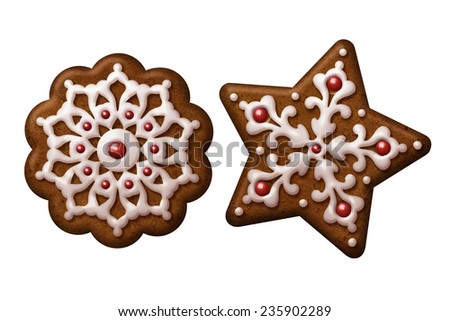 traditional Christmas gingerbread cookies illustration, isolated objects, snowflake, star
