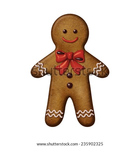 traditional Christmas gingerbread man cookie illustration, isolated on white background - stock photo