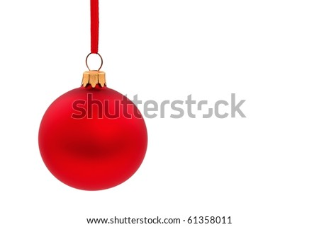 Traditional christmas glass, ball on white - stock photo
