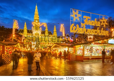 Traditional Christmas market in Vienna, Austria - stock photo