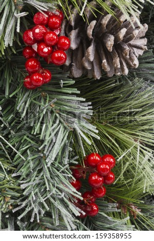 Traditional Christmas Pinecone and Berries -  Traditional Christmas Pinecone and Berries For Background - stock photo