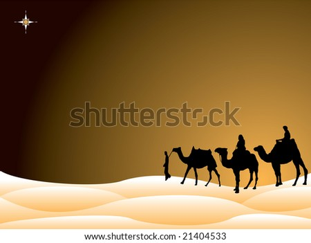 Traditional christmas scene with the three kings on camels crossing the desert - stock photo