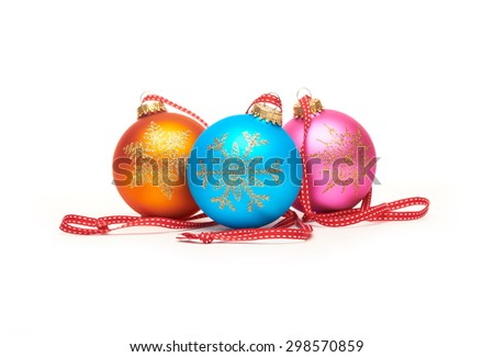 Traditional Christmas Tree Decorations isolated on a white background. - stock photo