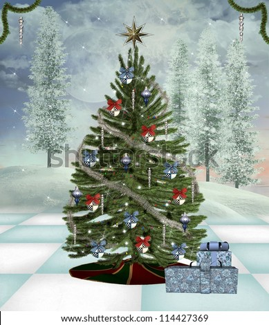 Traditional christmas tree in a winter scenery - stock photo