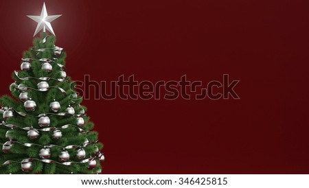Traditional christmas tree on red background