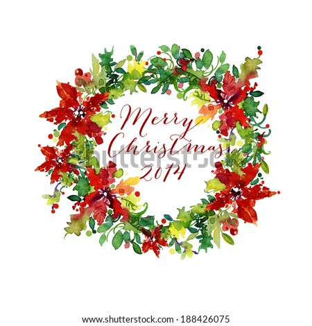 Traditional Christmas wreath with room for text - stock photo