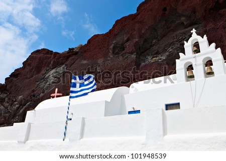 Traditional church at Santorini island of the Cyclades, aegean sea, Greece - stock photo