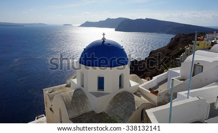 traditional church in small village oia on santorini