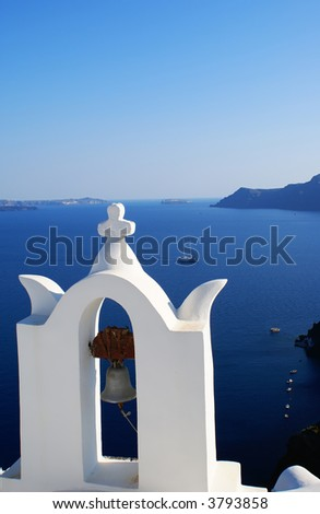 Traditional church on Santorini island, Cyclades, Greece - stock photo