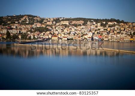 Traditional city of Argostoli at Kefalonia island in Greece - stock photo