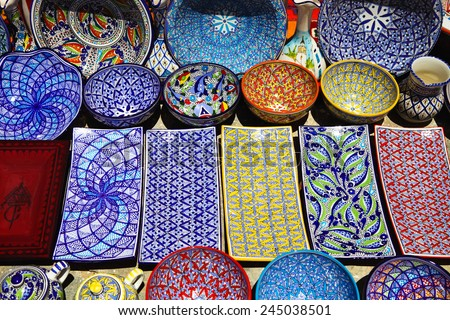 Traditional clay goods in shop in the medina of Tunis,Tunisia - stock photo
