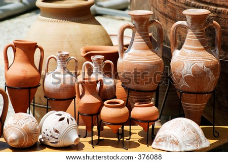 Traditional clay pots on display