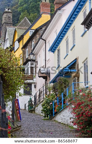 Traditional cobbled street in a Devonshire village in UK