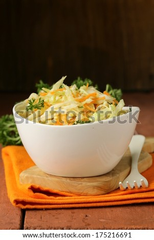 Traditional coleslaw (cabbage salad, carrot and mayonnaise) - stock photo