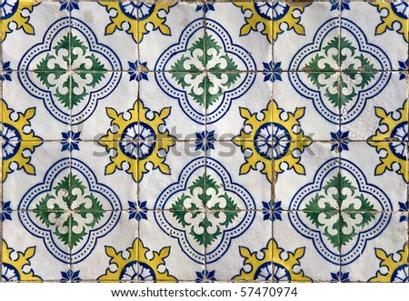 Traditional colored decorative tiles covering many buildings in Lisbon, Portugal