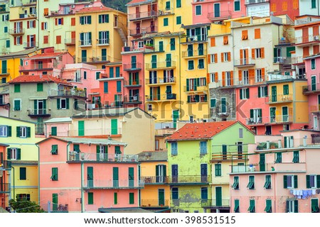 Traditional colorful italian houses, Manarola, Cinque Terre, Italy - stock photo