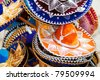 Traditional colorful mexican sombrero hats for sale - stock photo