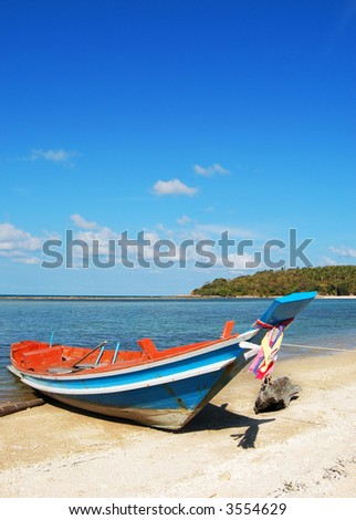 Traditional, colorful Thai boat - stock photo