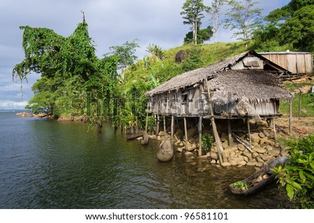 Traditional construction of Antongil Bay, east of Madagascar - stock photo