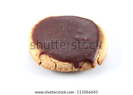 traditional cookie made �¢??�¢??with butter sugar eggs flour salt and cocoa horizontal isolated on white background