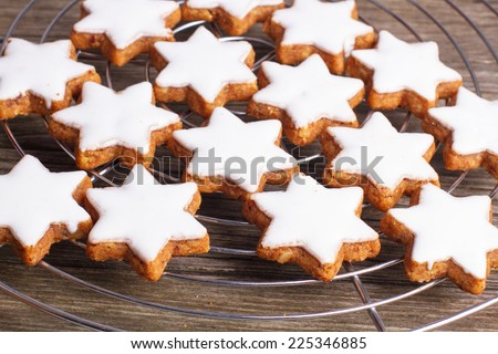 Traditional cookies with cinnamon star form, baked for christmas - stock photo