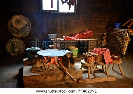 Traditional cooking tortillas on a fire in Mexico - stock photo