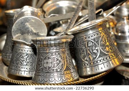 Traditional copper coffee pots in Turkey - stock photo