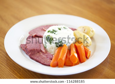 Traditional corned beef dinner - stock photo