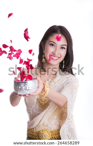 Traditional costume of thailand and Songkran festival (Thai new year holiday) concept with white isolated background. - stock photo