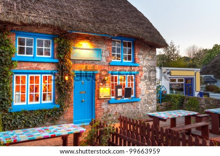 Traditional cottage house in Adare, Co. Limerick, Ireland - stock photo