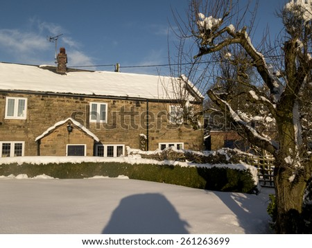 traditional cottage in snow,near Matlock, Derbyshire, Britain ,taken 27/12/2014