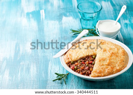 Traditional cottage pie (Shepherd's pie), selective focus - stock photo