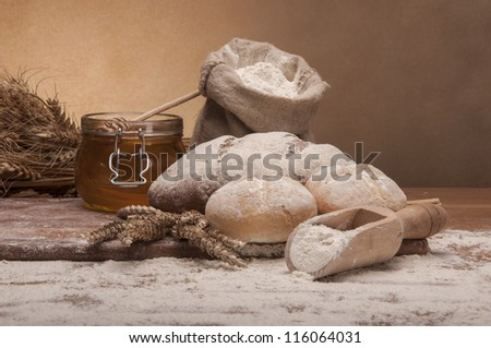 Traditional country theme with bread and rolls