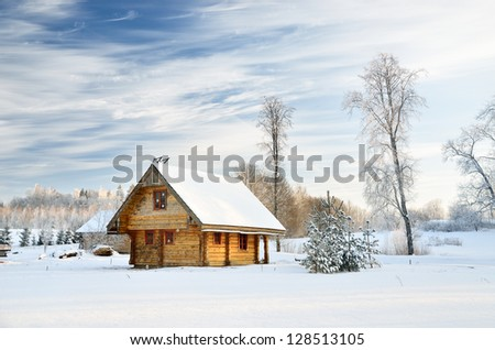 traditional countryside house in winter - stock photo