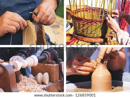 traditional crafts - collage - stock photo