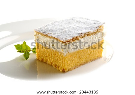 Traditional cream cake from Slovenia - stock photo