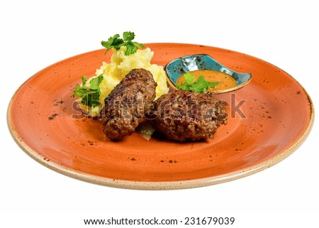 Traditional cutlets with potatoes. Isolated on white background. - stock photo