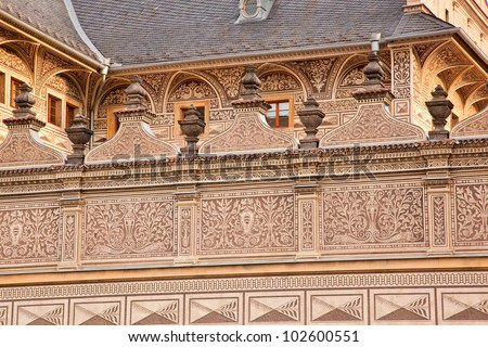 Traditional Czech architectural painted building with decorative moldings. Government building. Central Prague.