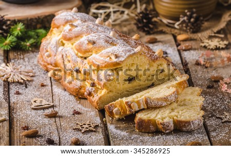 Traditional Czech Christmas cake, Vanocka, delicious breakfast for whole family full of nuts and almonds - stock photo