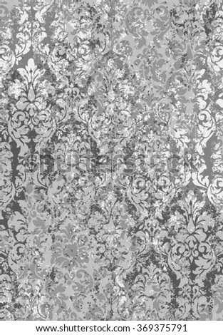 Traditional damask wallpaper texture in monochrome silver grays. - stock photo