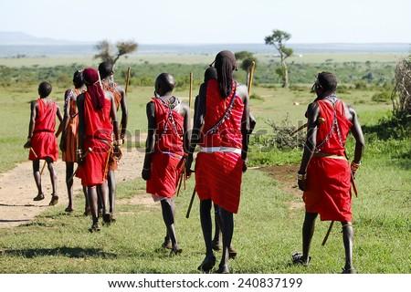 Traditional Dance of Masais - Kenya - stock photo