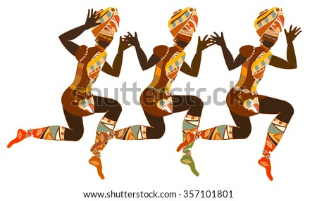 Traditional dance performed by women in Africa ethnic style - stock photo