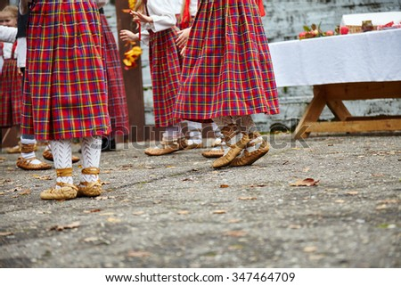 Traditional dance shoes. Save traditions. Latvian traditional dance. - stock photo