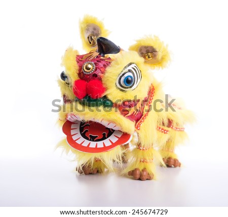 traditional dancing lion isolated - stock photo
